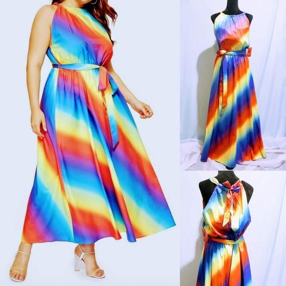 MediabyMedina Dresses & Skirts - Halter neck Ombre Rainbow Maxi Dress🦄💋